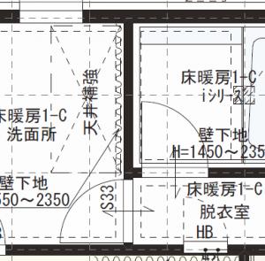 洗面室を家事室として使い、風呂から脱衣所、そして洗面室という導線を確保