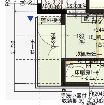 1階と2階を合わせた庇部分